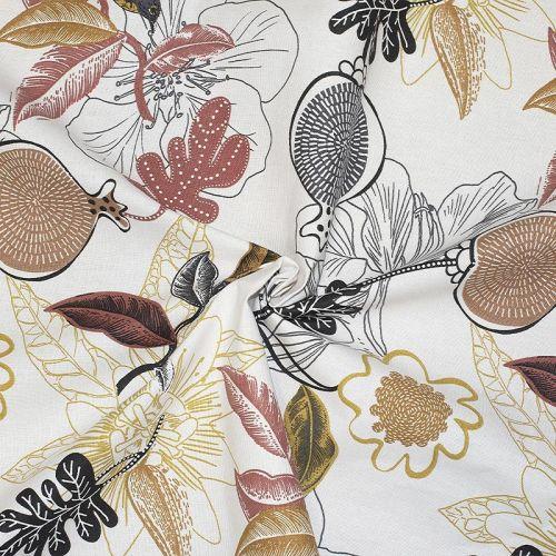 Toile coton blanche imprimée divali écru
