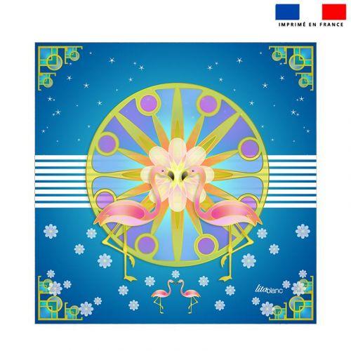 Coupon éponge pour serviette de plage double motif duo de flamants roses - Création Lita Blanc