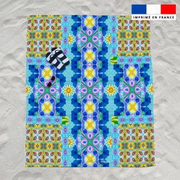 Coupon éponge pour serviette de plage double motif goutte violette - Création Lita Blanc