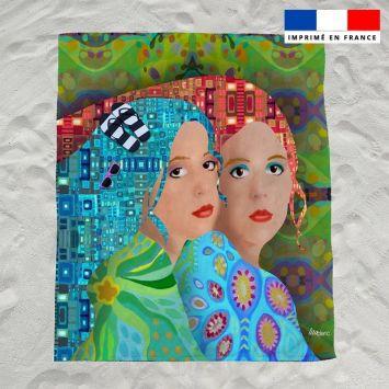 Coupon éponge pour serviette de plage double motif femmes - Création Lita Blanc