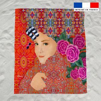 Coupon éponge pour serviette de plage double motif diva et fleur rose - Création Lita Blanc
