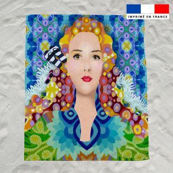 Coupon éponge pour serviette de plage double motif diva reine - Création Lita Blanc