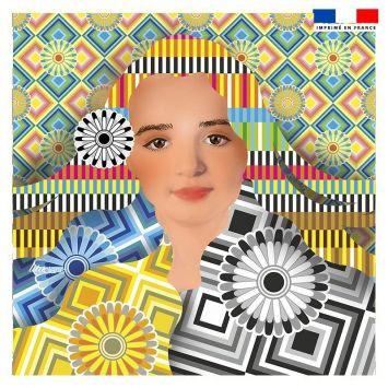 Coupon 45x45 cm motif diva et rosaces - Création Lita Blanc