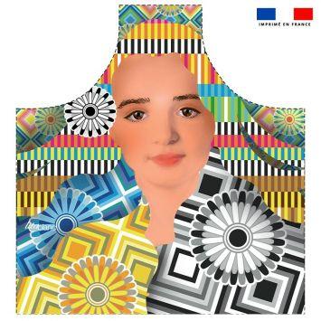 Patron imprimé sur canvas pour tablier motif diva et rosaces - Création Lita Blanc