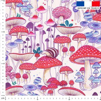 Champignons - Fond écru - Création Pilar Berrio