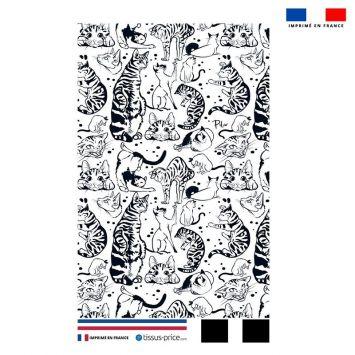 Kit pochette motif chats tigrés - Création Pilar Berrio