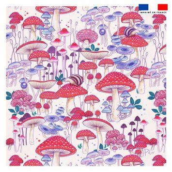 Coupon 45x45 cm motif champignons - Création Pilar Berrio