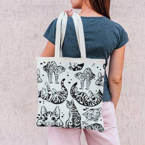 Coupon 45x45 cm motif chats tigrés symétriques - Création Pilar Berrio