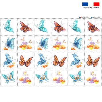 Coupon éponge pour lingettes démaquillantes motif papillons - Création Pilar Berrio