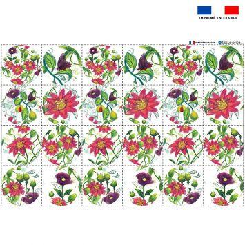 Coupon éponge pour lingettes démaquillantes forme ronde motif flowers rouges - Création Pilar Berrio