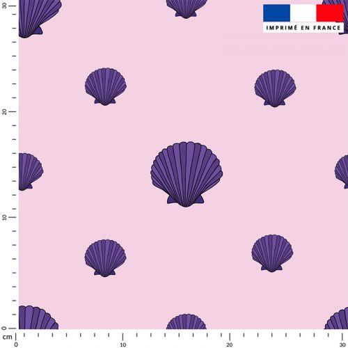 Coquillage violet - Fond rose