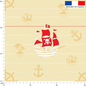 Bateau de pirate - Fond beige