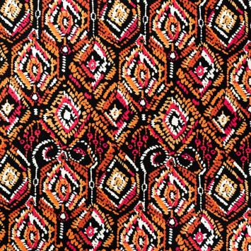 coupon - Coupon 35cm - Jersey viscose noir motif géométrique abstrait ocre orange et rose