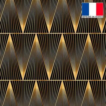 Velours ras noir motif grand triangle ligne doré