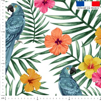 coupon - Coupon 390cm - Perroquet bleu et fleur d'hibiscus - Fond blanc - Satin 110 gr/m² - 150 cm