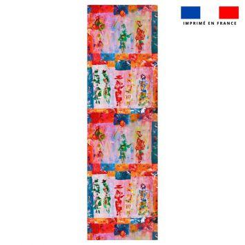 Coupon 45x150 cm tissu imperméable motif silhouettes effet peinture pour transat - Création Anne Gillard