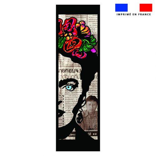 Coupon 45x150 cm tissu imperméable motif femme mexicaine pour transat - Création Anne-Sophie Dozoul
