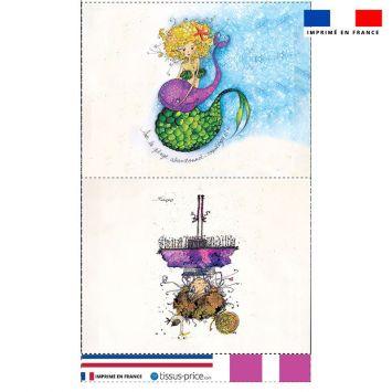 Kit pochette motif fillette et sirène - Création Audrey Baudo