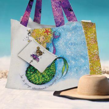 Kit sac de plage imperméable motif sirène - Queen size - Création Audrey Baudo