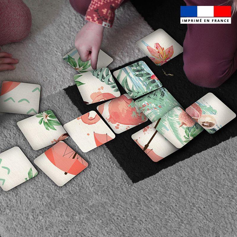 Patron imprimé pour jeu de puzzle 2 en 1 motif flamant rose