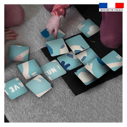 Patron imprimé pour jeu de puzzle 2 en 1 motif football
