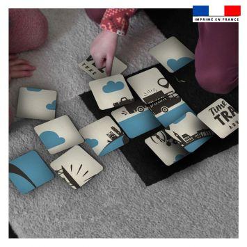 Patron imprimé pour jeu de puzzle 2 en 1 motif voyage