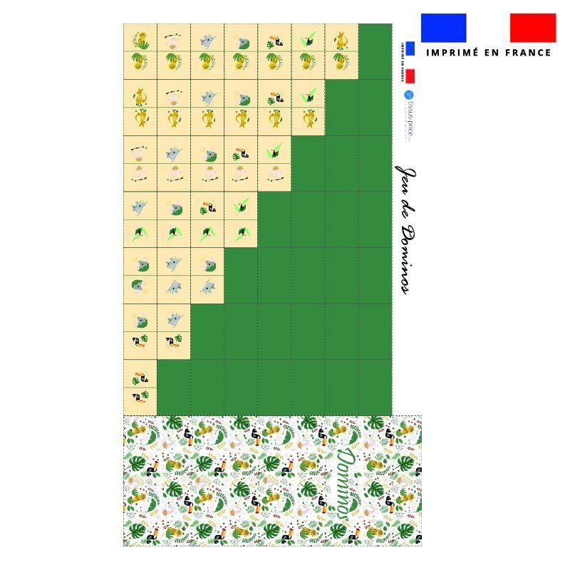 Patron imprimé pour jeu de dominos motif animaux de la jungle