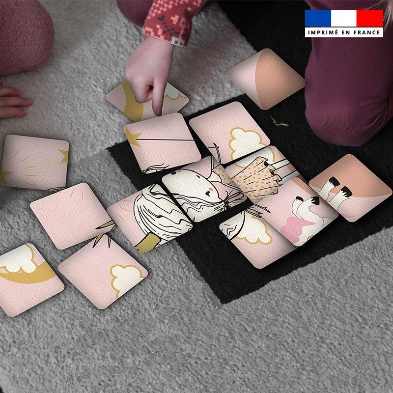 Patron imprimé pour jeu de puzzle 2 en 1 motif princesse