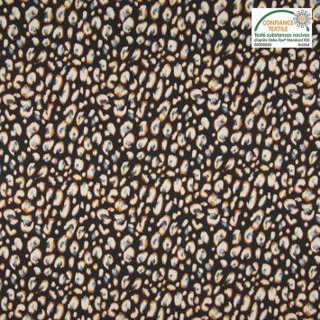 Tissu viscose noir motif tâches