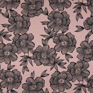 Tissu viscose rose motif grosses fleurs noires