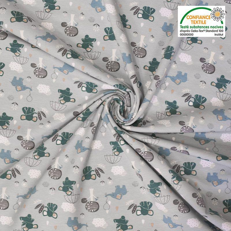 Jersey coton vert pastel imprimé éléphanteau Oeko-tex
