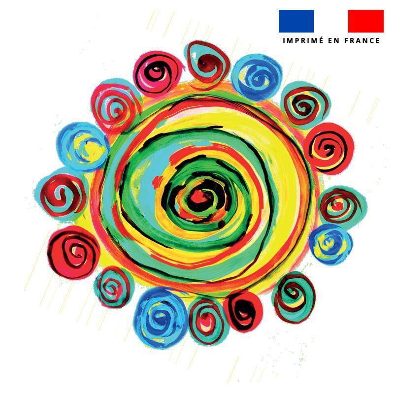 Coupon 45x45 cm motif cercles multicolores - Création Jeanne Garreau