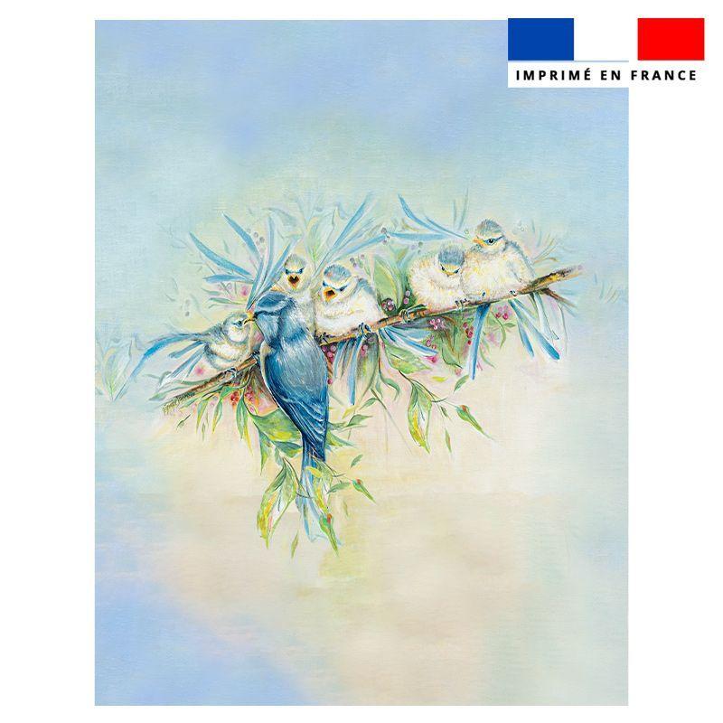 Coupon éponge pour serviette de plage double motif mésanges - Création Véronique Baccino