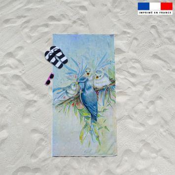 Coupon éponge pour serviette de plage simple motif mésange - Création Véronique Baccino
