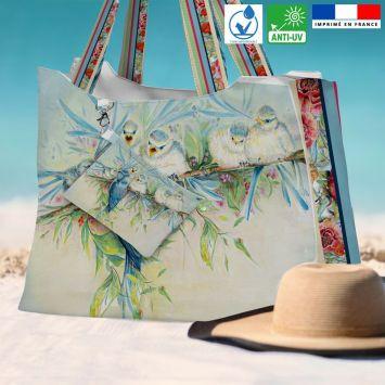 Kit sac de plage imperméable motif mésange - Queen size - Création Véronique Baccino