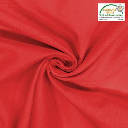 Toile coton rouge oeko-tex grande largeur