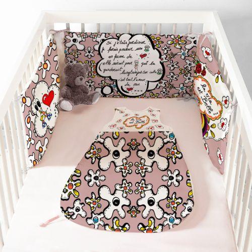 Coupon velours d'habillement pour tour de lit motif poème rose - Création Anne-Sophie Dozoul