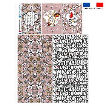 Coupon velours d'habillement pour vide-poches motif poème rose - Création Anne-Sophie Dozoul