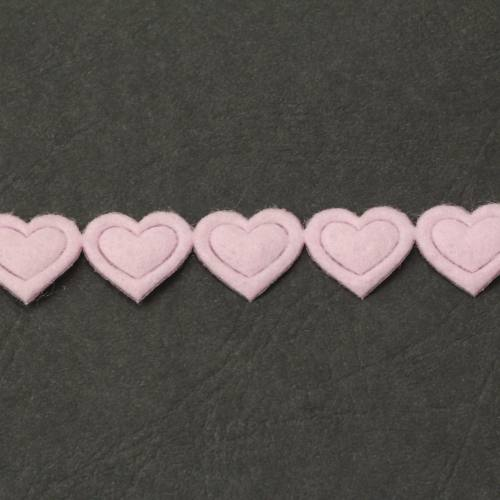 Galon fantaisie thermocollant coeur rose