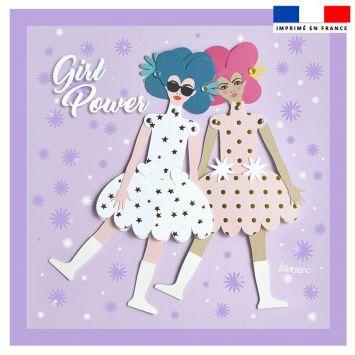 Coupon 45x45 cm motif poupée rétro violet - Création Lita Blanc