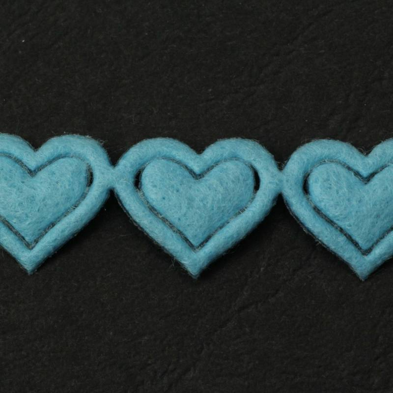 Galon fantaisie thermocollant coeur bleu