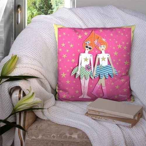 Coupon 45x45 cm motif poupée rétro rose - Création Lita Blanc