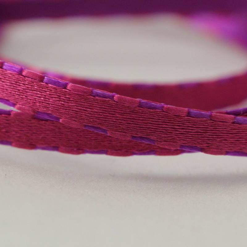 Galon tiret reversible violet et rose 4 mm