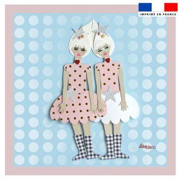 Coupon 45x45 cm motif poupée rétro bleu - Création Lita Blanc