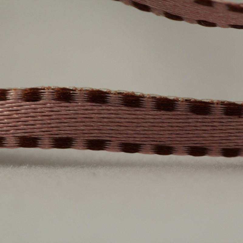 Galon tiret reversible marron et rose 4 mm