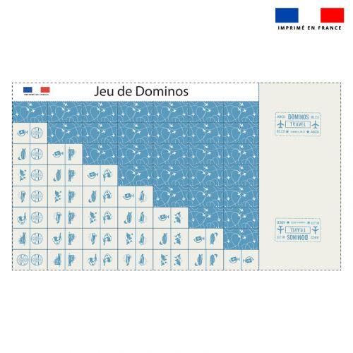 Patron imprimé pour jeu de dominos motif voyage