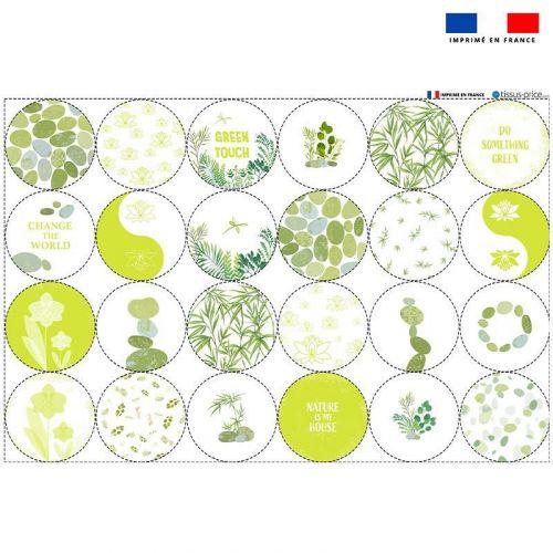 Coupon microfibre pour lingettes lavables forme ronde motif GREEN Oeko-tex