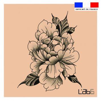 Coupon 45x45 cm motif fleur effet tattoo - Création LAB6