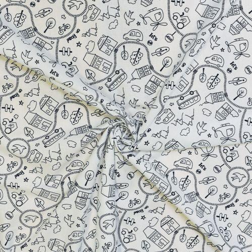 Coton à colorier motif route Oeko-tex