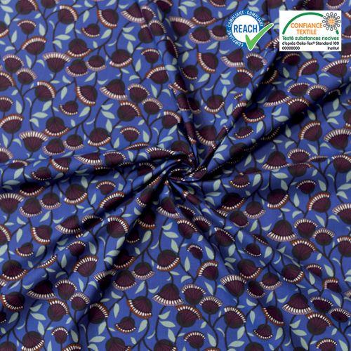 Coton bleu outremer motif fleur éventail bordeaux nyer Oeko-tex